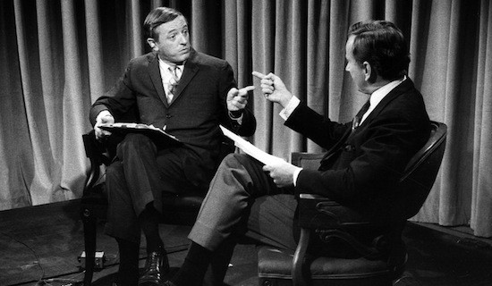 William F. Buckley and Gore Vidal square off in this still image from Best Of Enemies.