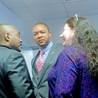 Shelby County Democratic Convention Winner Carson (center) with G.A. Hardaway and Regina Morrison Newman JB