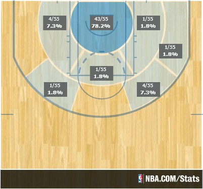 Zach Randolph playoff shot distribution.