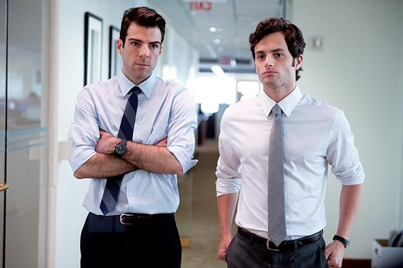 Zachary Quinto and Penn Badgley in Margin Call