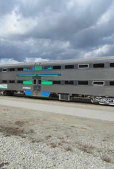 A passenger car for the proposed Ann Arbor-to-Detroit commuter rail project, which would include five stops in Ann Arbor, Ypsilanti, Detroit-Metro Airport, Dearborn and Detroit.