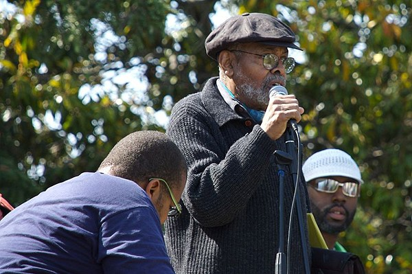 "Amiri Baraka at a Malcolm X Day gathering in Oakland, Calif. In Detroit, he praised the ""united front"" that secured Obama's second term."