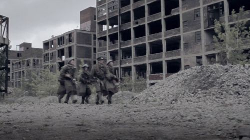 An urban battle scene from The Wars of Other Men. The cast and crew are currently working on a television pilot.