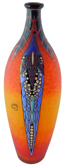 COLLECTION OF ED & KAREN OGUL - André Delatte French, 1887–1953, Vase, enameled glass, 16 1/2 x 6 inches