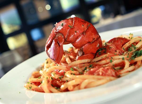 Astakomkaronatha, spaghetti in tomato cream sauce with butter poached lobster, from Santorini Estiatorio in Detroit.