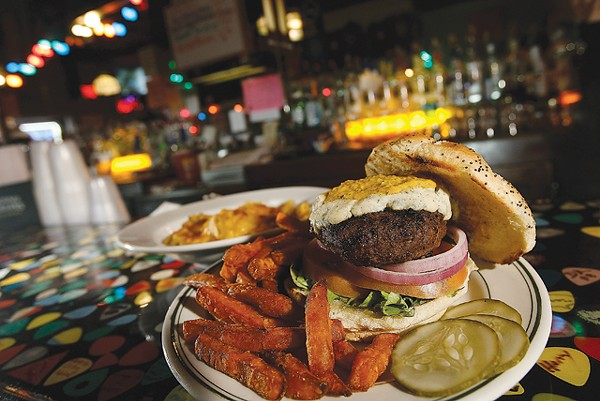 Black 'n Blue Burger with sweet potato fries and a side of mac 'n' cheese, from PJ's Lager House in Detroit. - MT PHOTO: ROB WIDDIS
