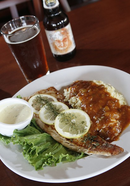 Broiled whitefish and Founders' Red's Rye Pale Ale from Square Lake Diner in Troy.