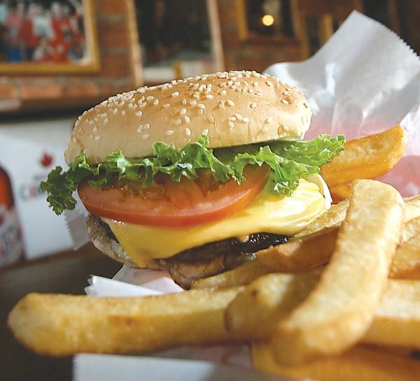 Burger and fries at the Anchor Bar - PHOTO: ROB WIDDIS
