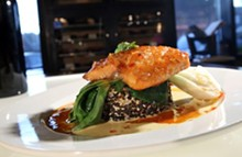 California Salmon with cherry chili glaze, baby bok choy on a rice cake, from Panache 447 in Plymouth.