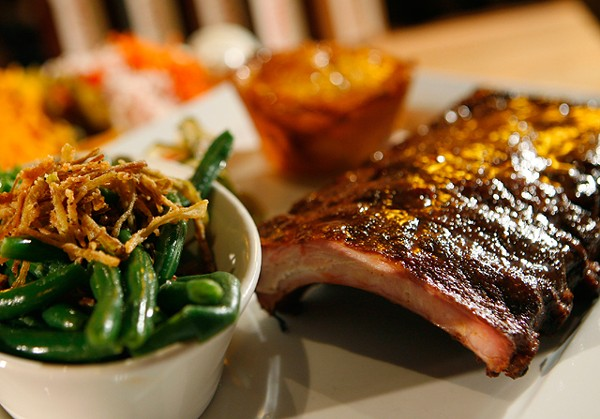 Carolina pork back ribs with mac and cheese, green beans and fried leeks. - MT PHOTO: ROB WIDDIS