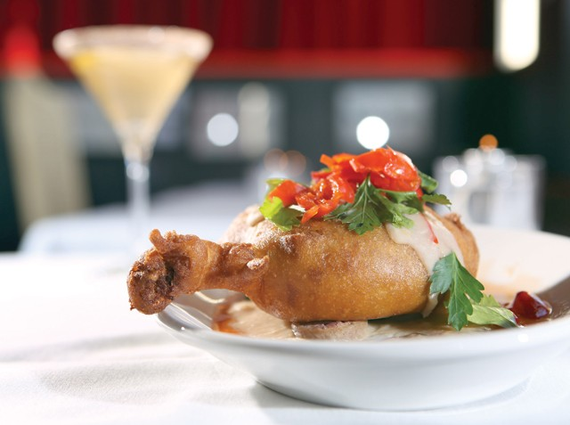 """Chicken Fried Duck"""" — duck confit cassoulet with white bean gravy, sausage and cornichon relish — from Rodin in Detroit."""