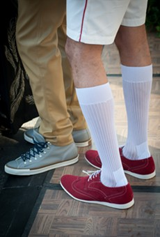 Classic sneakers were highlighted by neutral colors and shorts.