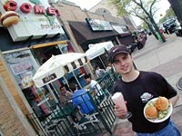 Comet Burger: Owner-operator Marco Rosati serves sliders and a shake - METRO TIMES PHOTO / LARRY KAPLAN