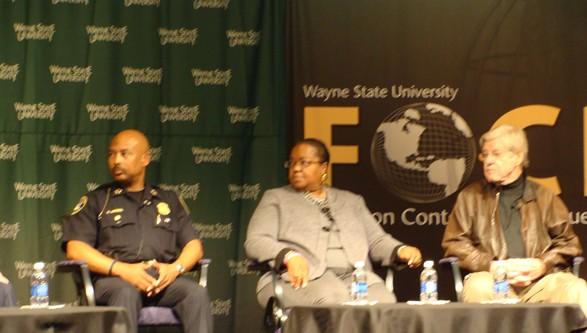Detroit Chief of Police Ralph Godbe, Wayne County Prosecutor Kym Worthy and Senior Fellow at the Manhattan Institute George Kelling at WSU's City Under Siege forum. - LARRY GABRIEL