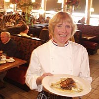 Diamond Jim Brady's Bistro: Chef and co-owner Mary Brady serves pan-roasted Atlantic salmon. - METRO TIMES PHOTO / LARRY KAPLAN