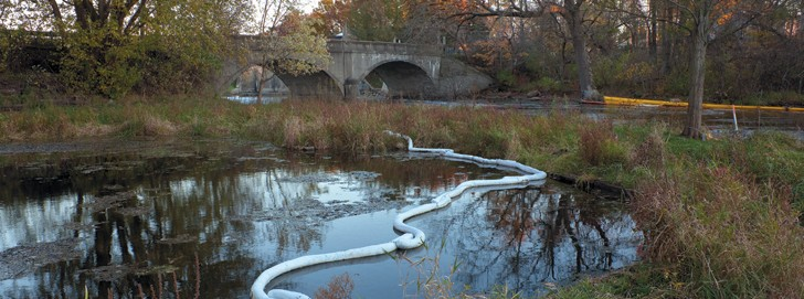 Enbridge Spill remaining below Ceresco Dam near Kalamazoo