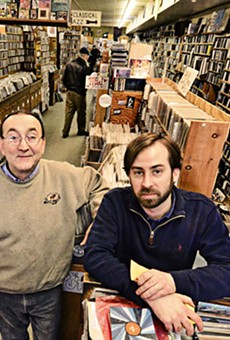 Enocore's Peter Dale with employee-musician Tadd Mullinix.