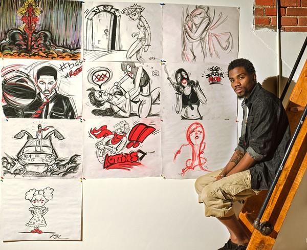 Everett Weathersby in his loft with art. - PHOTO: DOUG COOMBE
