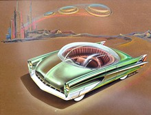 COURTESY PHOTO. - Ford designer Charles Balogh imagines a space-age car, one of many original conceptual drawings on display at LTU.