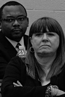 Former Detroit City Council member Sheila Cockrel and the Rev. Jerome Warfield, president of the Detroit Police Commission.
