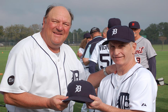Former Tiger Jon Warden, left, and Steve Reischel at Tigers Fantasy Camp, 2013. - THE REISCHEL COLLECTION