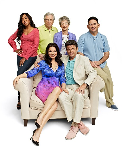 Fran Drescher, lower left, with the cast of Happily Divorced.
