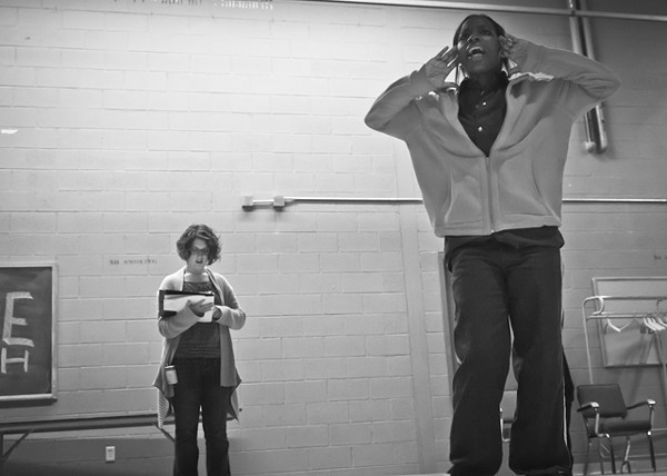 Frannie Shepherd-Bates coaching a performer in the Shakespeare in Prison program.