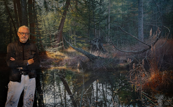 """Frits Hoendervanger and his hyperrealistic oil painting, """"Autumn's Passage."""" Hoendervanger is one of ArtPrize's two Detroit finalists. - ARTPRIZE"""