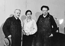 DETROIT INSTITUTE OF ARTS - From left: Albert Kahn, Frida Kahlo, and Diego Rivera.
