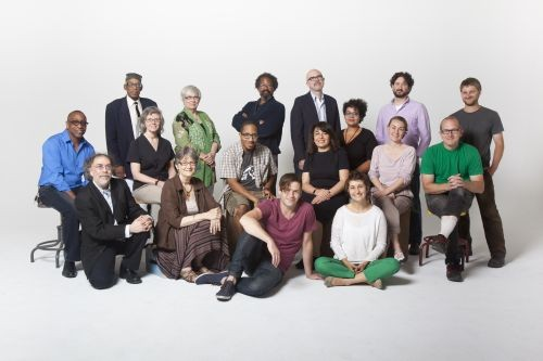 "(from left to right) First Row: Cary Loren, Terry Blackhawk, Oren Goldenberg, Kate Daughdrill. Second Row: Carl Wilson, Coco Bruner, Chace ""Mic Write"" Morris, Dunya Mikhail, adrienne maree, Marie T. Hermann, Jon Brumit. Third Row: Arthur R. LaBrew, Carolyn Walker, Bryant Tillman, Michael Zadoorian, Jason E. Carter, Charlie O'Geen. Photo by Marvin Shaouni."