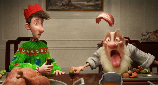 >Grandsanta's false teeth take flight. Arthur looks on in horror.