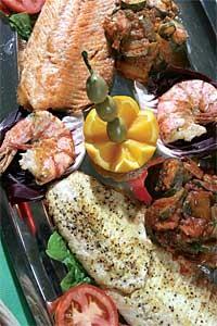 Grigliata Mista di Pesce: Salmon and whitefish. - MT PHOTO: ROB WIDDIS
