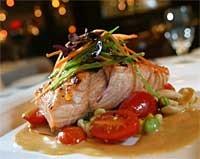 Grilled Atlantic salmon served with edamame and sweet corn succotash. - MT PHOTO: ROB WIDDIS