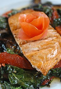 Grilled fresh fillet of salmon served over a bed of portabello mushrooms, spinach and roasted red peppers, topped off with balsamic vinegar, from Phoenicia in Birmingham. - METRO TIMES PHOTO/ROB WIDDIS