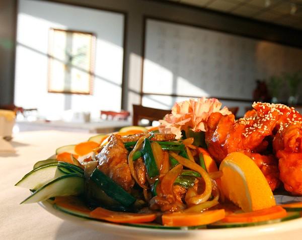House Trio: Beef with scallions, sesame chicken, and stir-fried shrimp. - ROB WIDDIS
