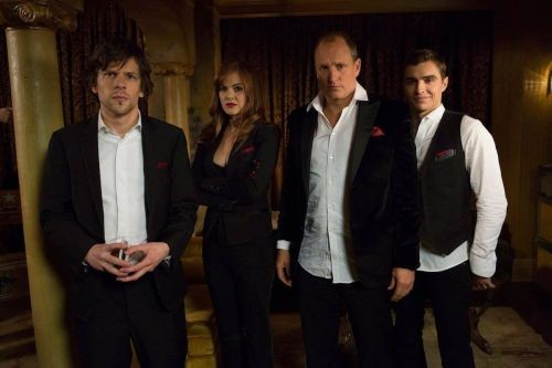Jesse Eisenberg, Isla Fisher, Woody Harrelson and Dave Franco are magicians who pull off heists in Now You See Me.