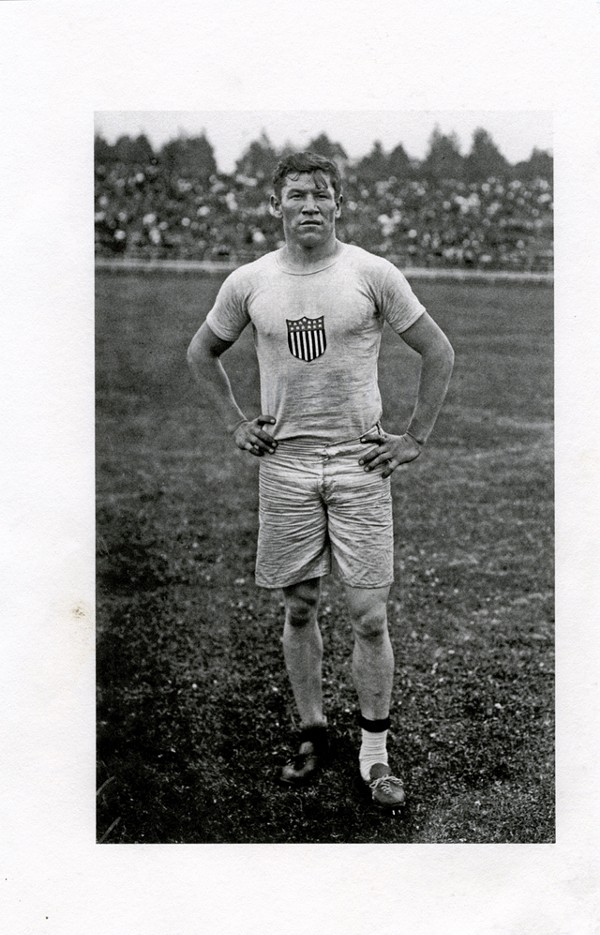 Jim Thorpe in the field uniform of the 1912 U.S. Olympic team.