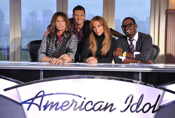 Judge not: Tyler, Seacrest, J-Lo and Jackson (from right).