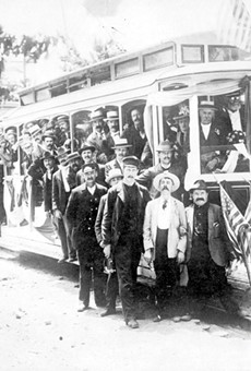 The electrified streetcar was already a feature of Detroit life in the late 19th century, as this publicity photo illustrates.