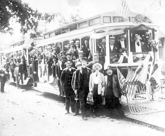 The electrified streetcar was already a feature of Detroit life in the late 19th century, as this publicity photo illustrates. - COURTESY OF THE BURTON HISTORICAL COLLECTION