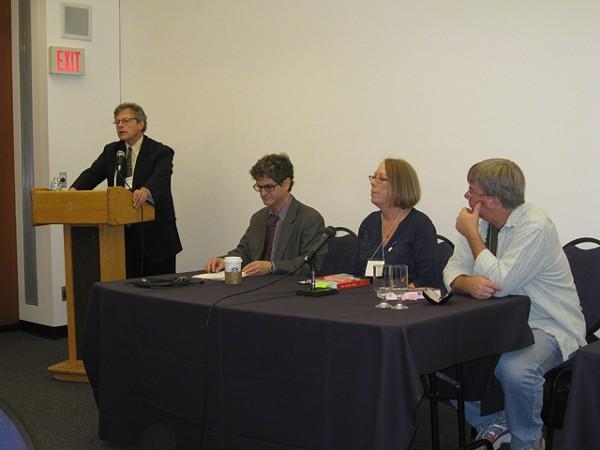 L-R: Jack Lessenberry, Chris Rhomberg, Barb Ingalls and Scott Martelle.
