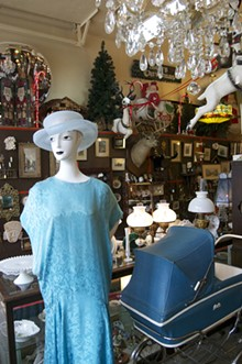 Mannequins and Christmas at Carriagetown Antique Center.