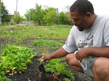 Mark Covington tends row crops along Georgia Street in Detroit.