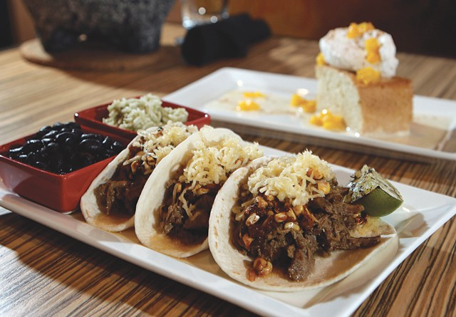Mole verde brisket tacos and Barrio tres leches from Barrio in Birmingham.