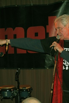 Kim Fowley, right, performs with Matthew Smith at the 2012 Blowout.