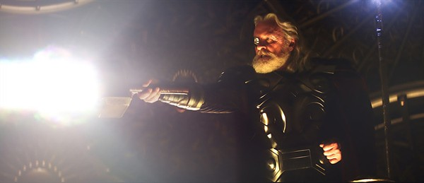 No, that's not a banana: Anthony Hopkins as Odin in Thor.