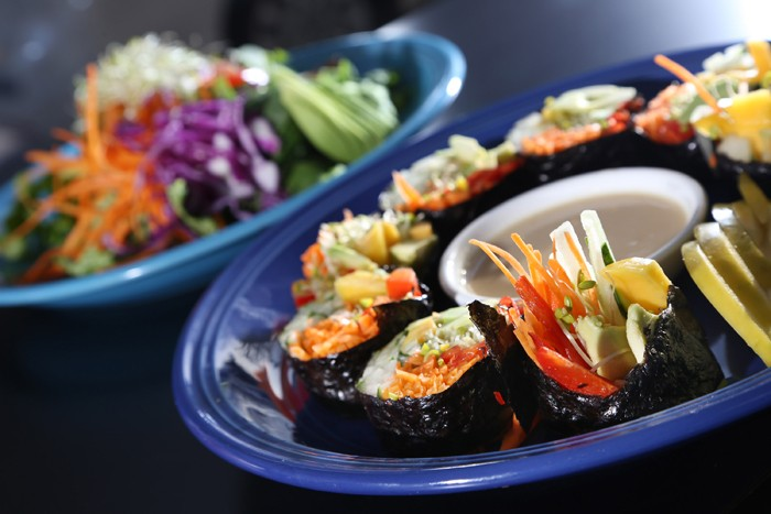 Nori roll, front, with house salad from Try It Raw in Birmingham. - PHOTO BY ROB WIDDIS.
