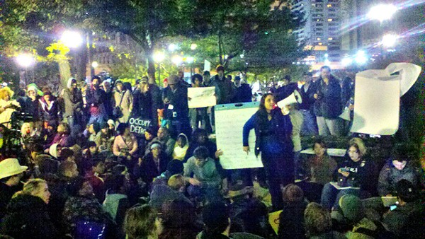 Occupy Detroit's general assembly meeting Friday evening in Grand Circus Park.