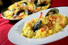 ROB WIDDIS - Paella, with saffron rice, chicken, mussels, clams, shrimp and squid from Garrido's Bistro & Pastry in Grosse Pointe Woods.