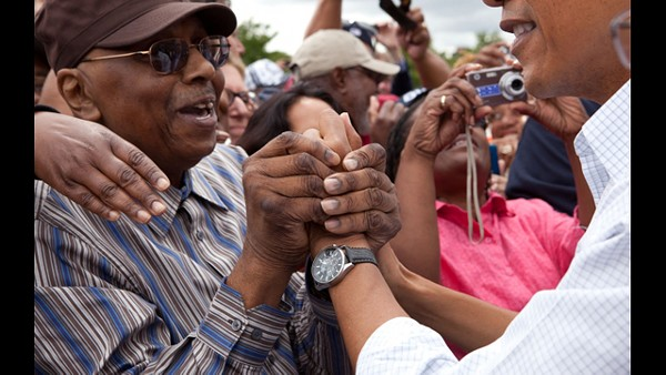 President Obama works the crowd after his Labor Day address in Detroit.
